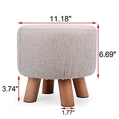 H&B Luxuries Fabric Round Padded Ottoman Foot Rest Stool