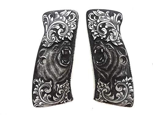 Sri Lanna Aluminum Hand Engrave CZ 75b Grips Grizzly Bear
