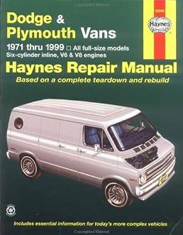 dodge plymouth vans automotive repair manual 1971 to 1999 rob rh amazon com 1999 dodge ram van owners manual 1999 dodge grand caravan service manual pdf
