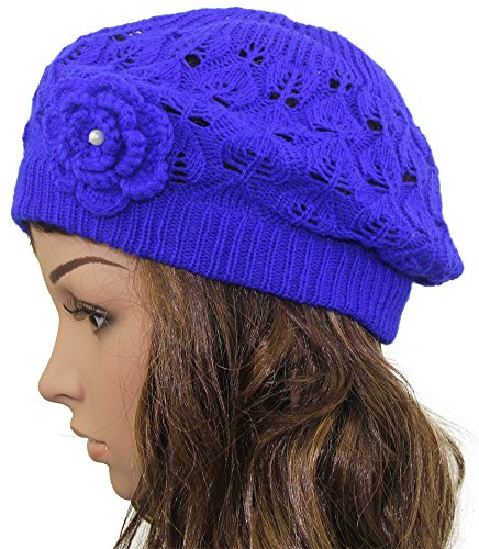 Womens Super Soft Flower Laciness Knit Beanie Hat (Crocheted Womens Beret)