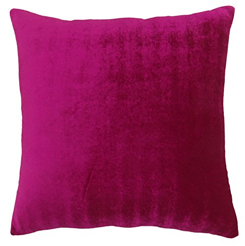 Magenta Square Cushion Cover Home Decorative Solid Velvet Throw Pillow Case (Magenta Pillow)