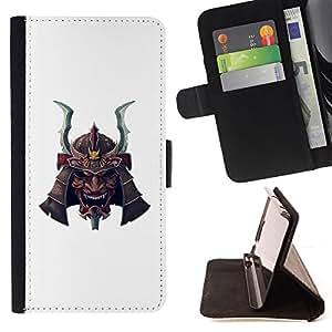 - Japanese samurai white mask scary - - Prima caja de la PU billetera de cuero con ranuras para tarjetas, efectivo desmontable correa para l Funny HouseFOR Samsung Galaxy S5 Mini, SM-G800