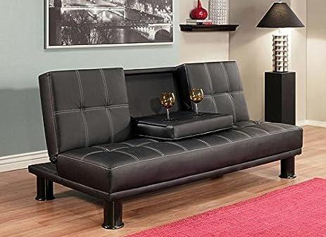 luxury modern convertible sofa futon bed twin sized mattress   signature black upholstery faux amazon    luxury modern convertible sofa futon bed twin sized      rh   amazon