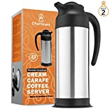 ChefGiant Thermal Carafe Coffee Thermos 1 Liter/33 oz (Set of 2) Stainless Steel Vacuum Insulated Hot & Cold Beverage Pitcher Dispenser, Premium Slim Design for Easy Handle & Travel