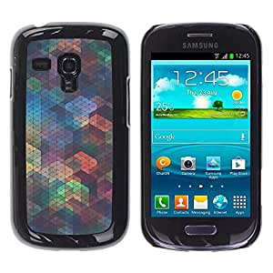 Be Good Phone Accessory // Dura Cáscara cubierta Protectora Caso Carcasa Funda de Protección para Samsung Galaxy S3 MINI NOT REGULAR! I8190 I8190N // Polygon Iridescent Teal Shapes P