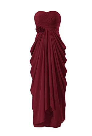 DaisyFormals Sweetheart Bridesmaid Chiffon Prom Dress Long Evening Gowns(BM332L)- Dark Scarlet