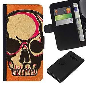 KLONGSHOP // Tirón de la caja Cartera de cuero con ranuras para tarjetas - Cráneo rosado Naranja Muerte Arte del motorista - Samsung Galaxy A3 //