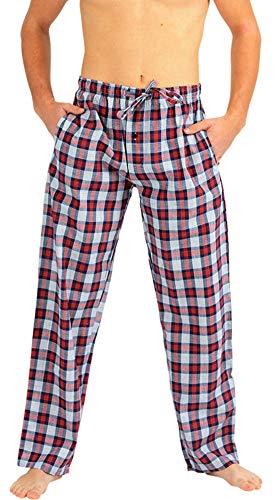 Pants Poplin Pajama Cotton - NORTY - Mens Woven Poplin Plaid Sleep Lounge Pajama Pant, Navy, Red 40762-X-Large