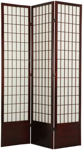 ORIENTAL Furniture Extra Tall Version, 78-Inch Window Pane Japanese Shoji Privacy Screen Room Divider, 4 Panel Black