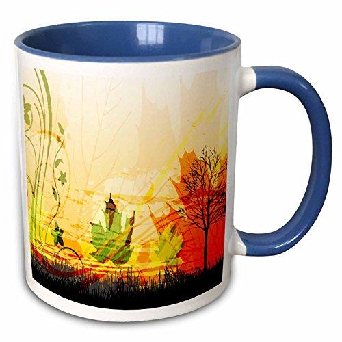 3dRose Anne Marie Baugh Fall - A Pretty Fall Scene With A Tree And Fall Leaves - 15oz Two-Tone Blue Mug (mug_159053_11) ()