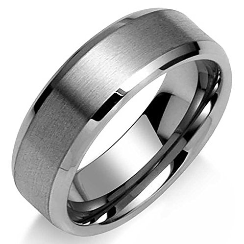 Personalized Wide Polished Beveled Edge Brushed Matte Couples Wedding Band Tungsten Ring for Men 7MM Custom Engraved ()