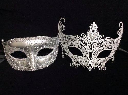 His (Silver) & Hers(white) Masquerade Couples Venetian Design Masks - 2 Piece Silver Colored Set - Perfect Couple Mardi Gras Queen Party Halloween Ball Prom ()