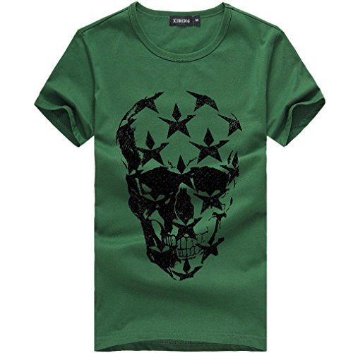 iLH®_Men's Cool Tshirt Big Promotion Men's Tshirt,ZYoo Cool Skull Printed Tee Shirt Short Sleeve Solid Blouse Boy's Summer Tops (Green, XL) ()