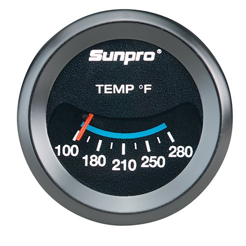 Sunpro CP7983 Mechanical Oil/Water Temperature Gauge - Black Dial