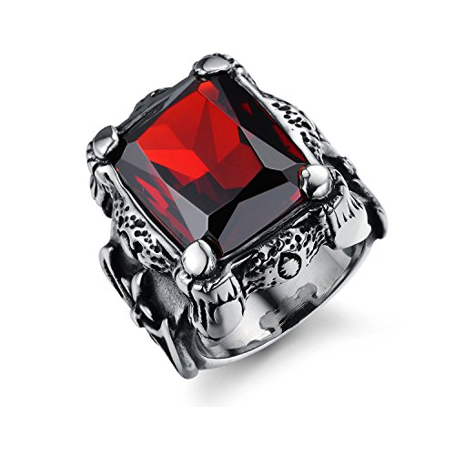 Fashion Jewelry Mens Stainless Steel Big Ruby Zircon Eternity Rings for Men Size 7-11 (Red, - Ruby Ring Zircon