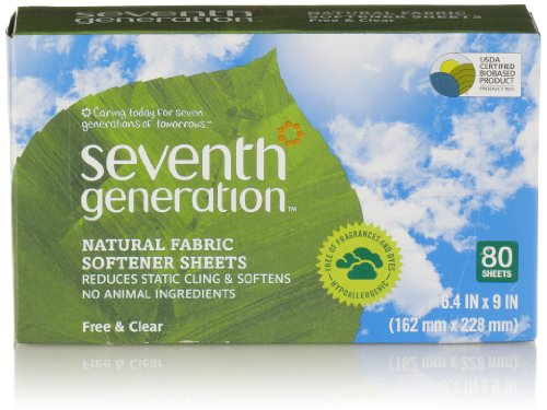 Seventh Generation Fabric Softener Sheets, Free & Clear, 80 Count (Packaging May Vary) by Seventh Generation