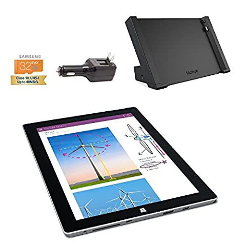 Microsoft Surface 3 Bundle - 4 Items: 4GB 64GB Wi-Fi Only Quard-Core 10.8-Inch Tablet Windows 10 Pro, Surface Dock, Silicon Power 32GB Elite microSDHC Card and 2-in-1 Travel (Microsoft Surface Pro 2 32)