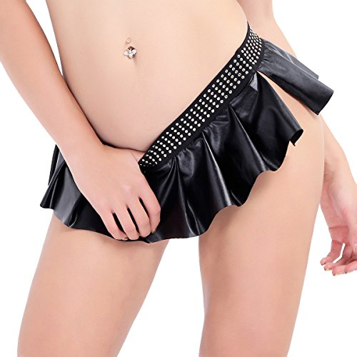 (FEESHOW Women Faux Leather Micro Mini Skirt Pleated Party Dress Dance Clubwear Black L)