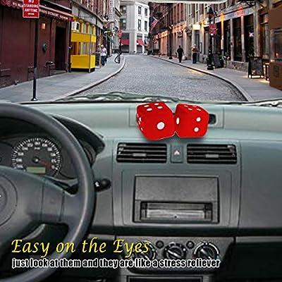 CUSTOM Vagway Fuzzy Dice Car Mirror- Pair of Red Hanging Dice- Plush Stylish Vintage Retro Accessory: Automotive
