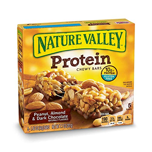 Nature Valley Chewy Granola Bar, Protein, Peanut, Almond and Dark Chocolate, Gluten Free (Pack of 6) (Bar Best Nature Protein)