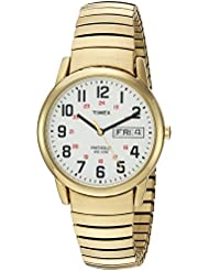 Timex Mens T2N092 Easy Reader Gold-Tone Extra-Long Stainless Steel Expansion Band Watch