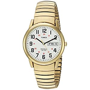Timex Men's T2N092 Easy Reader 35mm Gold-Tone Extra-Long Stainless Steel Expansion Band Watch