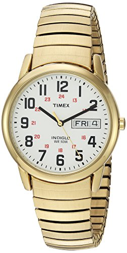 (Timex Men's T2N092 Easy Reader Gold-Tone Extra-Long Stainless Steel Expansion Band Watch)