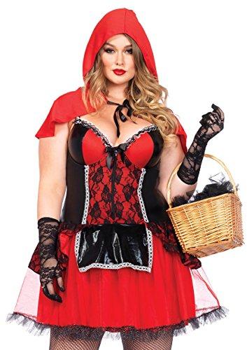 [Leg Avenue Women's Plus-Size 2 Piece Curvy Red Riding Hood Costume, Black/Red, 1X] (Leg Avenue Little Red Riding Hood)