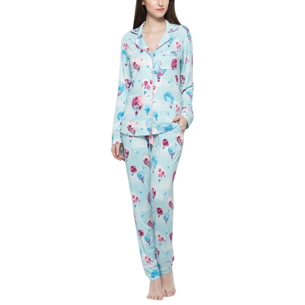 620b86cde4 Zhhlinyuan Ladies Floral Prints Cotton Pajama Set Loungewear Sleepwear Pjs  at Amazon Women s Clothing store