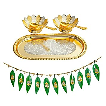 Gold Plated Brass Bowls Set With Mango Leaf Toran For Diwali Gifts Dhanteras