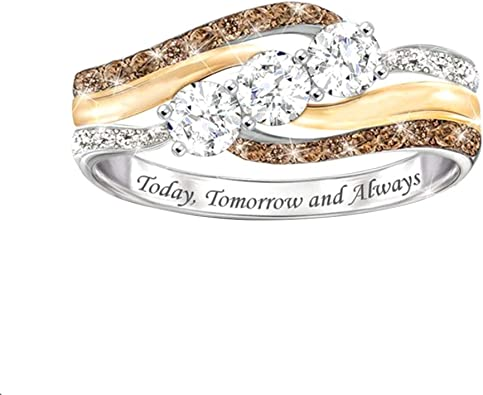 Women Faux Diamond Ring Weeding Party Ring Women Simple Style Ladies LC