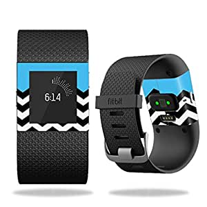 MightySkins Protective Vinyl Skin Decal for Fitbit Surge Watch cover wrap sticker skins Baby Blue Chevron