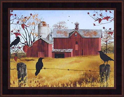 Jacobs 15x19 Red Barn Crows Fall Seasons Set Birds Fencepost Framed Folk Art Print (Country Black Woodtone) ()