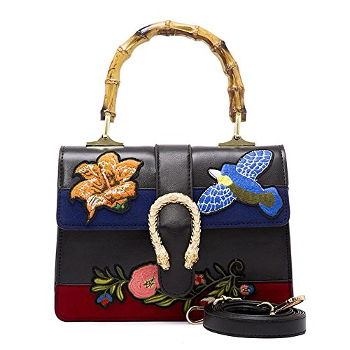 Vicue Women s Bamboo Handbag Retro Embroidery Bags PU Leather Shoulder  Handbags 8c465ef919f9c