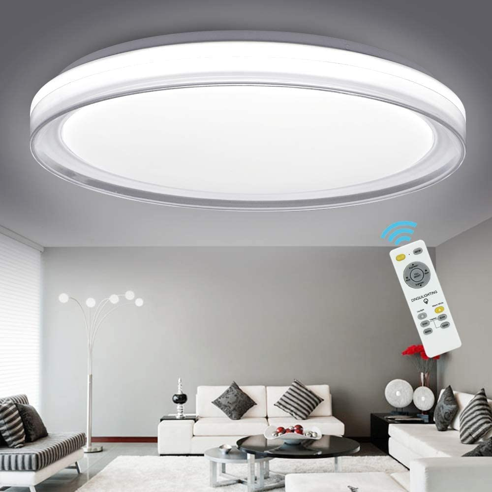 Amazon Com Dllt 48w Ceiling Light Fixture Industrial Led Dimmable Modern Flush Mount Lighting With Remote Control Bright For Living Room Bedroom Kitchen Dining Room Office Hotel 3 Light Changeable Home Kitchen
