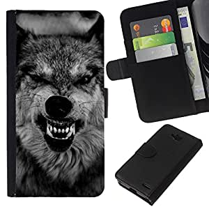 KLONGSHOP // Tirón de la caja Cartera de cuero con ranuras para tarjetas - lobo hocico feroz rugido dientes negro - LG OPTIMUS L90 //