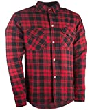 Highway 21 Marksman Men's Motorcycle Long Sleeve Flannel Shirt W/CE Armors/PE Back Armor Black/Red Size 2XL
