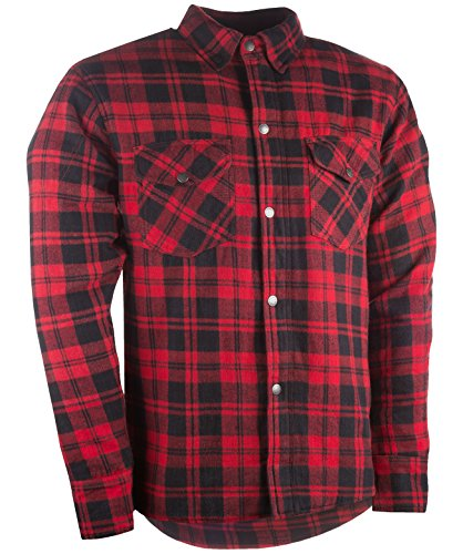 Highway 21 Marksman Men's Motorcycle Long Sleeve Flannel Shirt W/CE Armors/PE Back Armor Black/Red Size XL