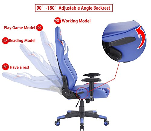 Top Gamer Gaming Chair PC Computer Game Chairs for Video Game (Blue/Red/White,2) by Top Gamer (Image #4)