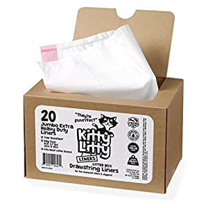 Extra Heavy Duty Jumbo Cat Litter Box Liners 20 Count Cat Waste Liners 62