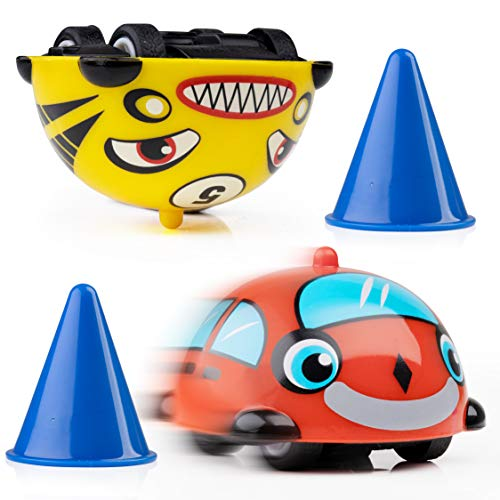 Power Your Fun Turbo Tops Mini Gyro Spinning Tops for Kids - Mini Cars, Battling Tops Game, Small Party Favors for Kids 2pk (Cars)
