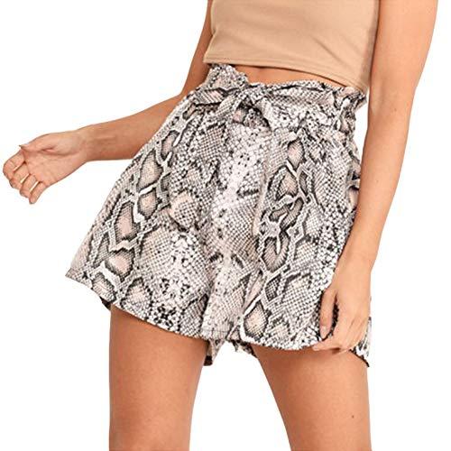 Susupeng Women Casual Elastic High Waist Lace Up BowknotSnakeskin Print Shorts (Medium, Khaki)