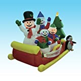 8 Foot Long Inflatable Snowmen Family on Sleigh w/ Pet Penguin