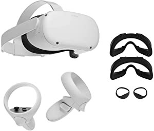 Oculus Quest 2 — All-in-One Virtual Reality 256GB Gaming Headset w/ Fit Pack Bundle —3D Cinematic Sound— Next-Level Hardware — VR Headset, Two Touch Controllers, Glasses Spacer, Quest 2 Fit Pack