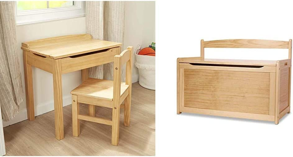 "Melissa & Doug Child's Lift-Top Desk & Chair (Kids Furniture, Honey, 2 Pieces, 16.1"" H x 23.6"" W x 23.2"" L) & Wooden Toy Chest - Natural"
