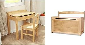 "Melissa & Doug Child's Lift-Top Desk & Chair (Kids Furniture, Honey, 2 Pieces, 16.1"" H x 23.6"" W x 23.2"" L) & Wooden Toy Chest - Natural"