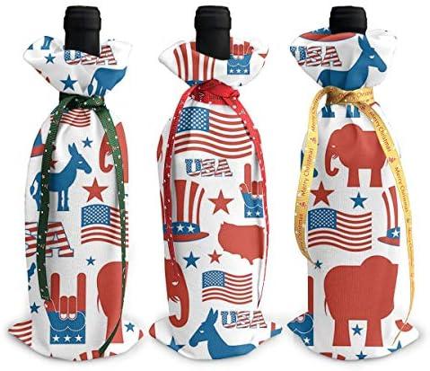 ワインバッグ クリスマスボトルカバー アメリカの国旗 象 兎馬 動物 シャンパンワインボトル3本用 12 X 34cm ワイン収納 3個ーテーマ ボトル装飾 ワインボトル用 かわいいドレス 3種類のデザイン ギフトバッグ 保管用 ギフトパッケージ
