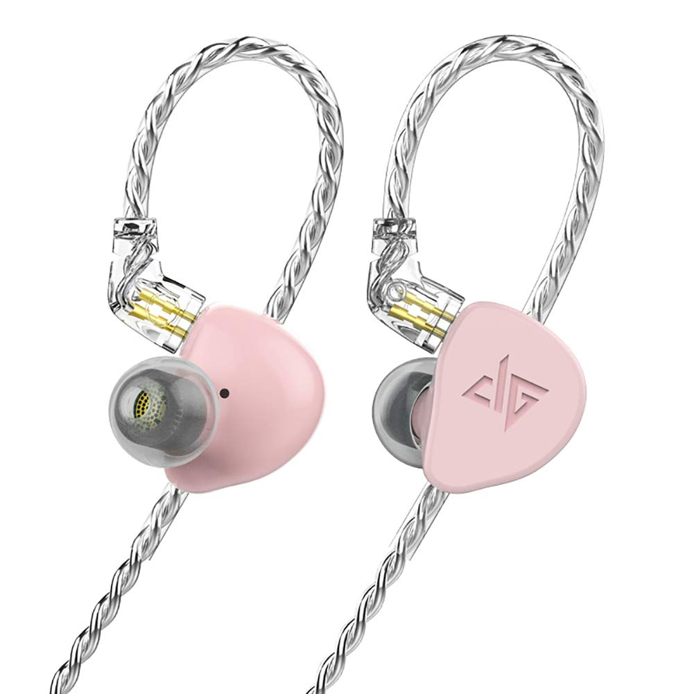 F300 in-Ear Monitors, HiFi Stereo Headphones with Detachable Cable Universal-Fit Wired Sports 0.78mm 2PIN Pink