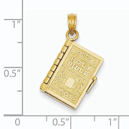 Or 14ct Sainte Bible livre avec 3D Lords Prière Pendentif-Dimensions 15x 15x 10mm