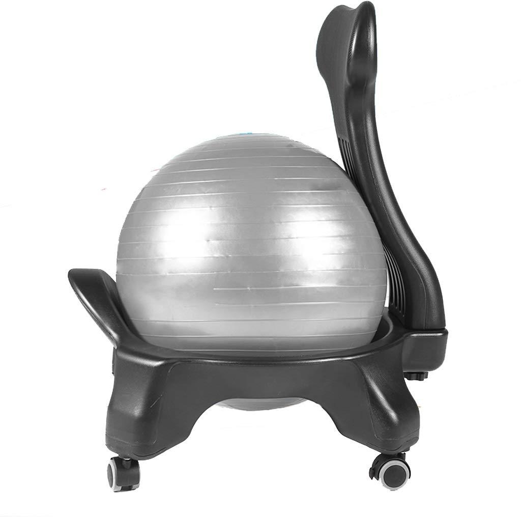 ボール付きピラティスプロチェア、オフィス用ヨガボールチェア、人間工学に基づいたオフィスチェア、バランスボール、オフィスデスクチェア、エアポンプオフィス付きベース付きエクササイズボールチェア (色 : Gray ball)  Gray ball B07PSMFSD9